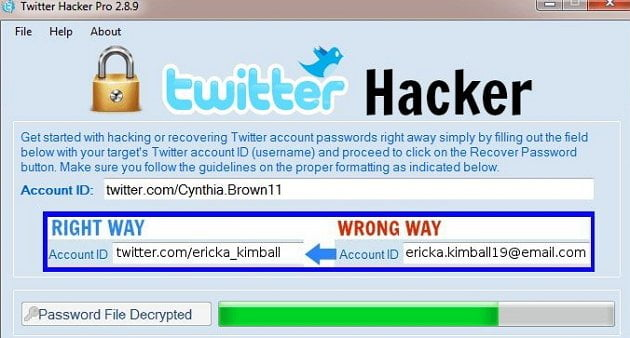 how to hack a twitter account with Twitter Hacker PRO