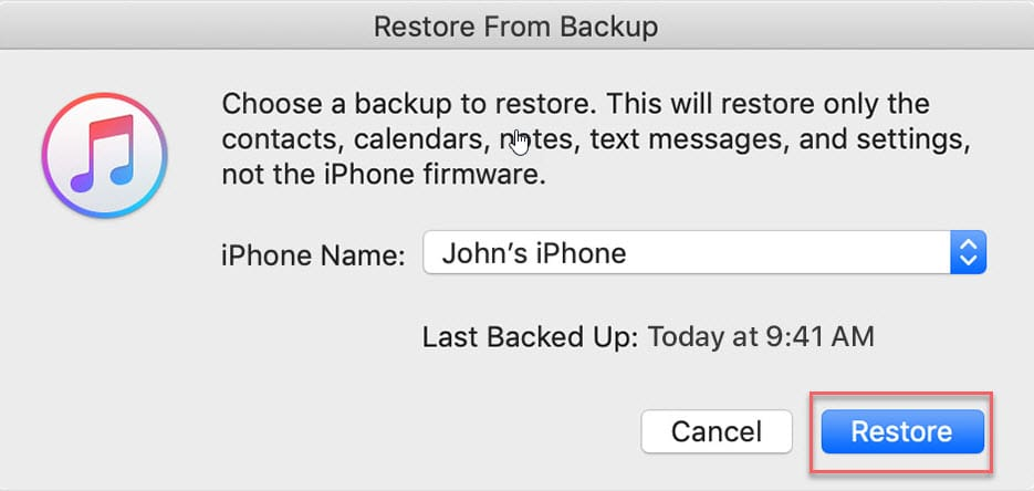 Restore iTunes backup to fix disabled iPhone