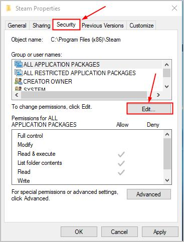 Set full control over the folder security of Steam
