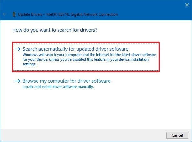 Manual method to update the driver