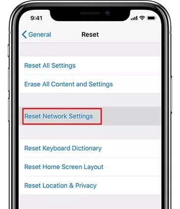 Reset the settings of your Network