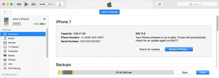 Restore your iOS device using iTunes to fix Software for This iPhone is Not Currently Available