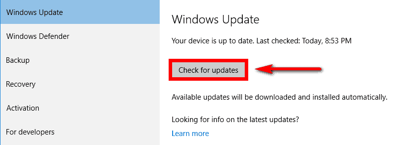 Updating the Windows with the latest version