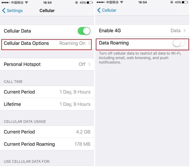 Examine Data Roaming to fix iPhone Network Not Available