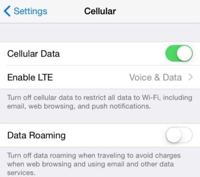 Switch Off/On Your Cellular Data