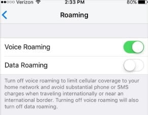Toggle Off/On Voice Roaming to fix iPhone Network Not Available