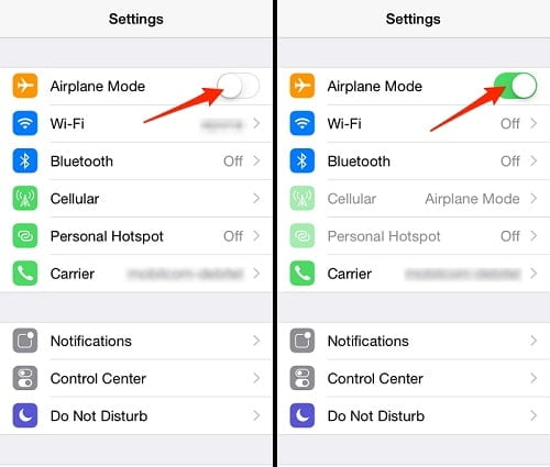 Turn On/Off Airplane Mode