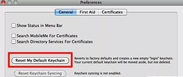 Reset your Local Login Keychain