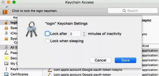 """Turn off the """"Keychain Auto-lock"""" feature"""