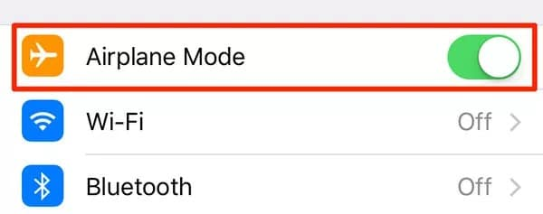 Turn on the Airplane Mode from the Settings app