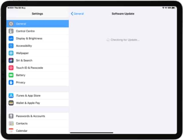 Update the OS of the iPad Pro