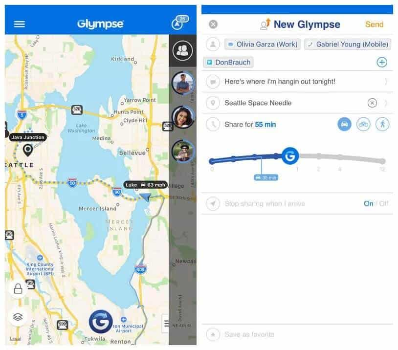 Glympse for Sharing GPS Location