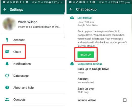 Restore the target account's WhatsApp messages from backup