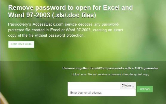 Use an online method to decrypt Excel file