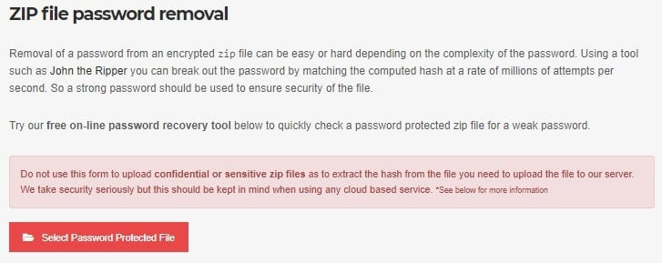 Use an online method to open a password-protected ZIP file