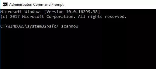 Remove potentially Corrupted System Files using System File Checker