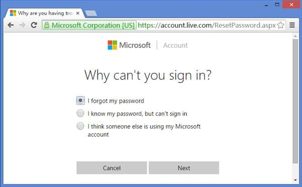 Use an online method to reset the admin password