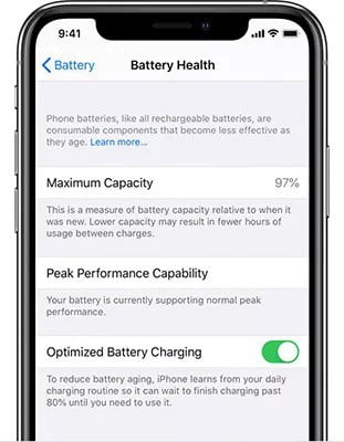 Check if the iPhone's battery is in good health