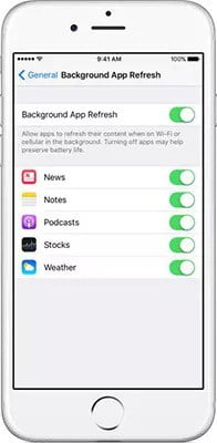 """Disable the option called """"Background App Refresh"""" to fix iPhone Battery Dying Fast"""