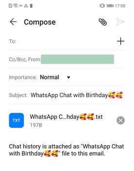 Use Built-on Export Chat feature on WhatsApp