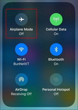airplane mode turn off on iPhone