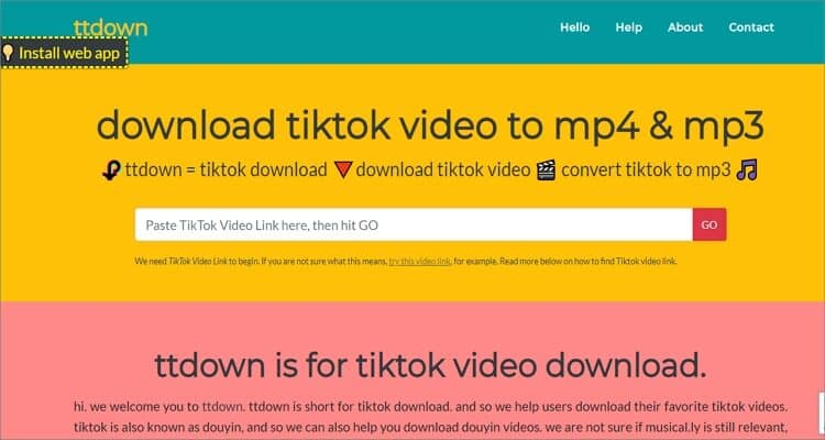 Ttdown TikTok to MP4 Downloader