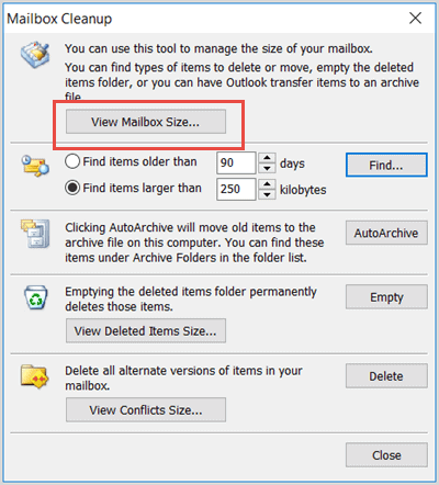 Check outlook mailbox size to fix Outlook PST Cannot Be Found
