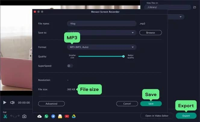 how to record internal audio on Mac with Movavi Screen Recorder