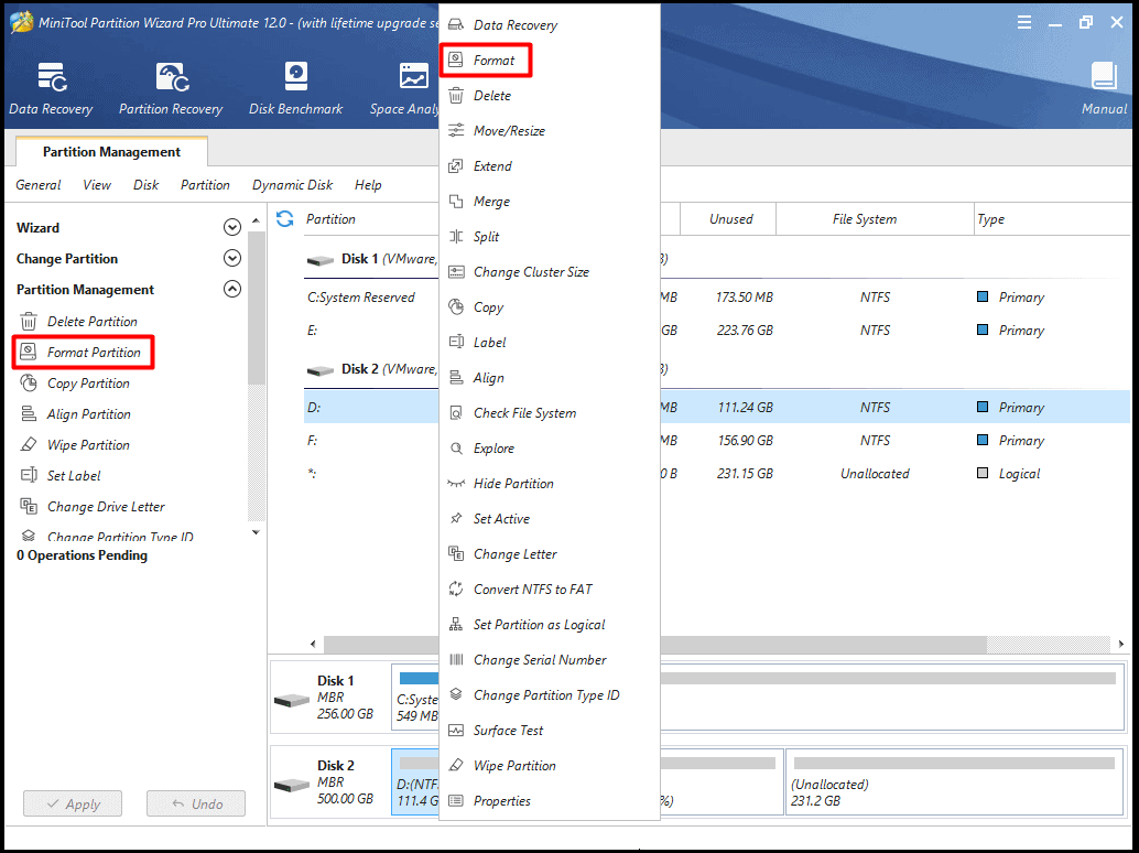 format the partition with MiniTool Wizard Partition software