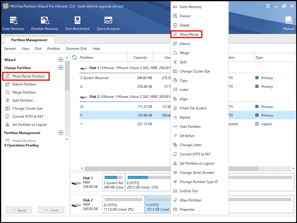 Resize/Move Partition with MiniTool