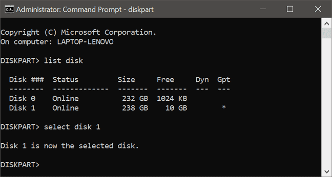 Use DiskPart to fix 0x80300024 error