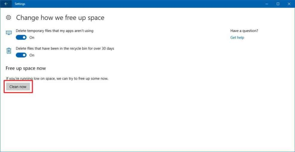 Free up Space to fix error 0x80070070
