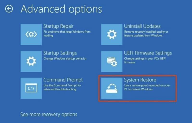 Perform a System Restore to fix the 0xc000000derror