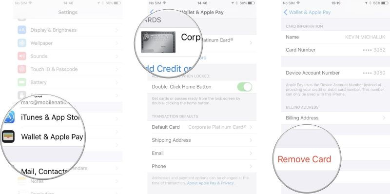 Remove card to fix Apple Pay Not Working on iPhone