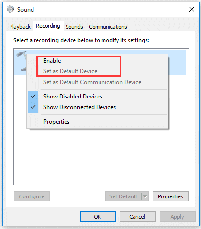 Enable Microphone Recording to fix Astro A10 Mic Not Working