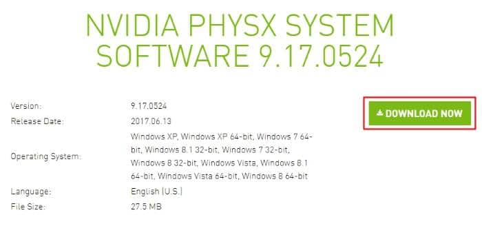 Reinstall Nvidia PhysX to fix Phsysxloader.dll Is Not Found