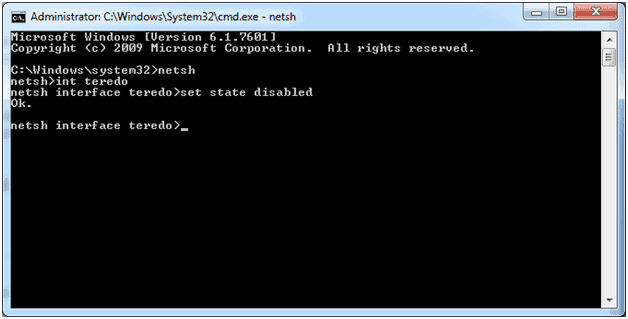 Use Command Prompt and fix teredo tunneling pseudo-interfaceerror